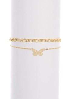 Brass Plum Mini Butterfly Charm Anklet - Set of 3
