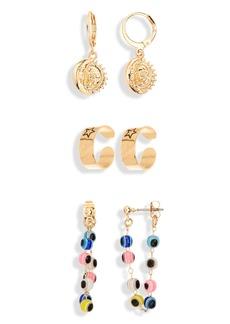Brass Plum Mixed Earrings 3-Piece Set