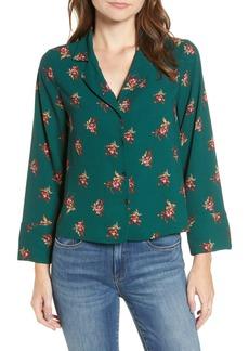 Brass Plum Notched Collar Floral Print Shirt