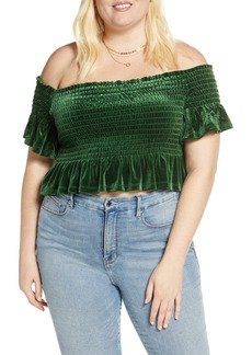 Brass Plum Off the Shoulder Velvet Crop Top