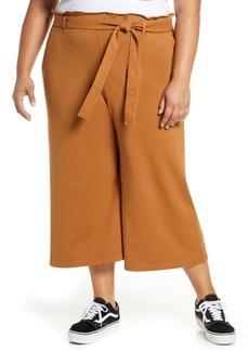 Brass Plum Tie Waist Wide Leg Crop Pants