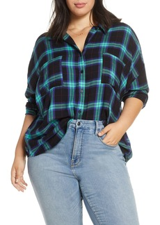 Brass Plum Plaid Boyfriend Shirt