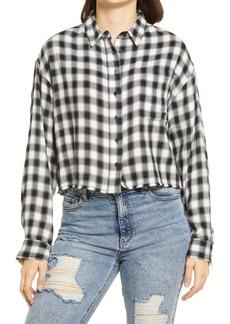 Brass Plum Plaid Crop Button-Up Shirt