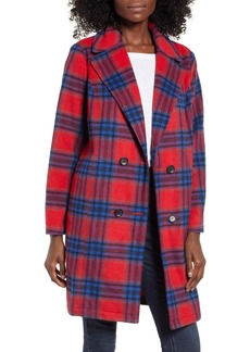 Brass Plum Plaid Double Breasted Coat