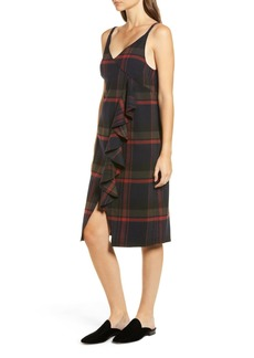 Brass Plum Plaid Ruffle Surplice Dress