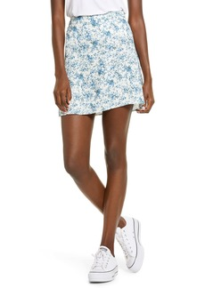 Brass Plum Print Mini Skater Skirt