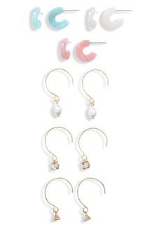 Brass Plum Resin Huggie Earrings Set
