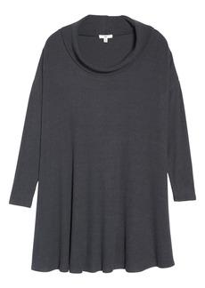 Brass Plum Rib Knit Cowl Neck Dress (Regular & Plus Size)