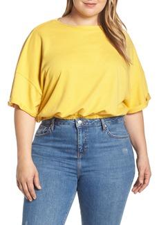 Brass Plum Short Sleeve Crop Sweatshirt (Plus Size)