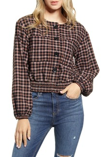 Brass Plum Plaid Smocked Hem Top