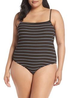 Brass Plum Square Neck Stripe Bodysuit (Plus Size)
