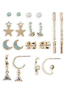 Brass Plum Star Moon Earring Set - Pack of 2
