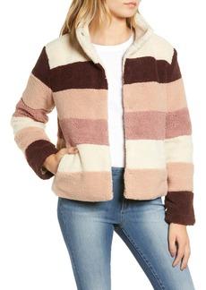 Brass Plum Stripe Faux Shearling Jacket (Regular & Plus Size)