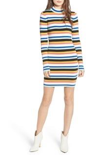 Brass Plum Stripe Mock Neck Sweater Dress