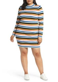 Brass Plum Stripe Rib Sweater Dress (Plus Size)