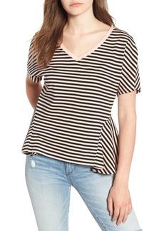 Brass Plum Stripe Sharkbite Hem T-Shirt