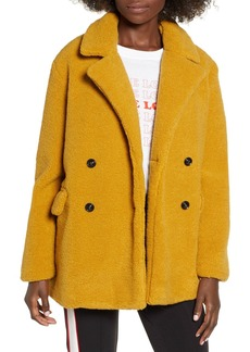 Brass Plum Textured Double Breasted Coat