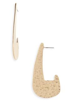 Brass Plum Textured J-Drop Earrings