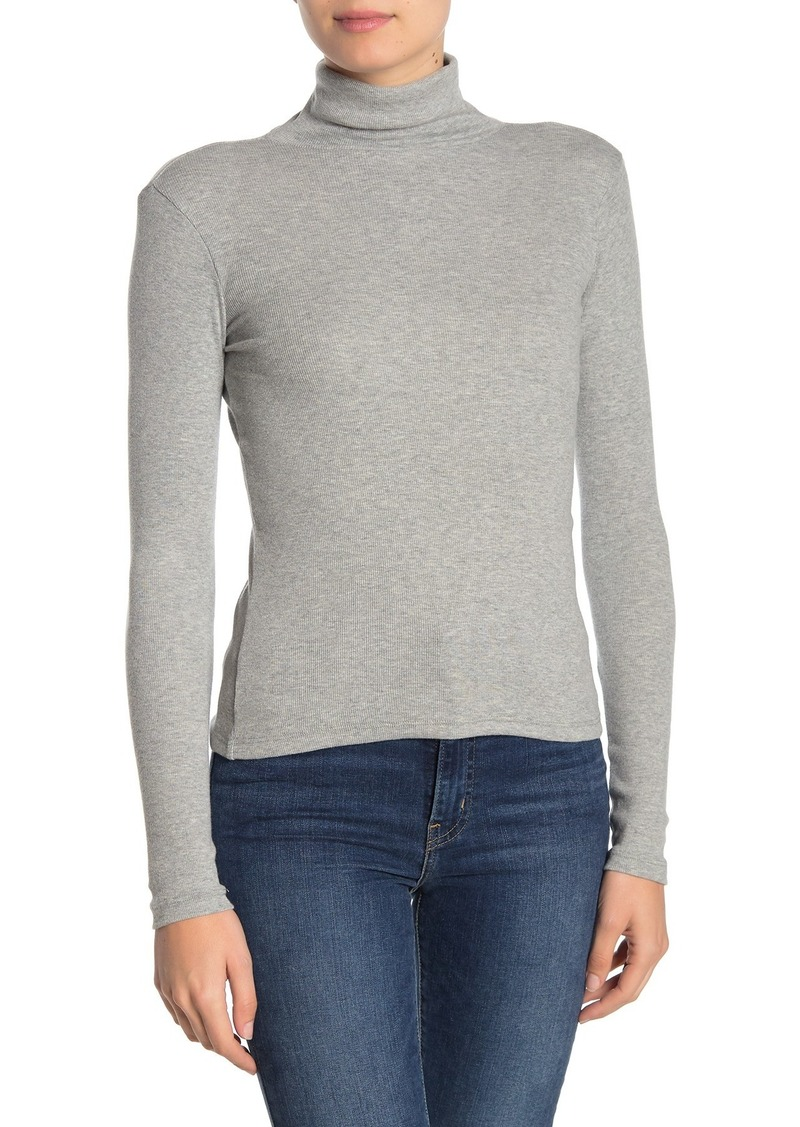 Brass Plum Turtleneck Long Sleeve Ribbed Top