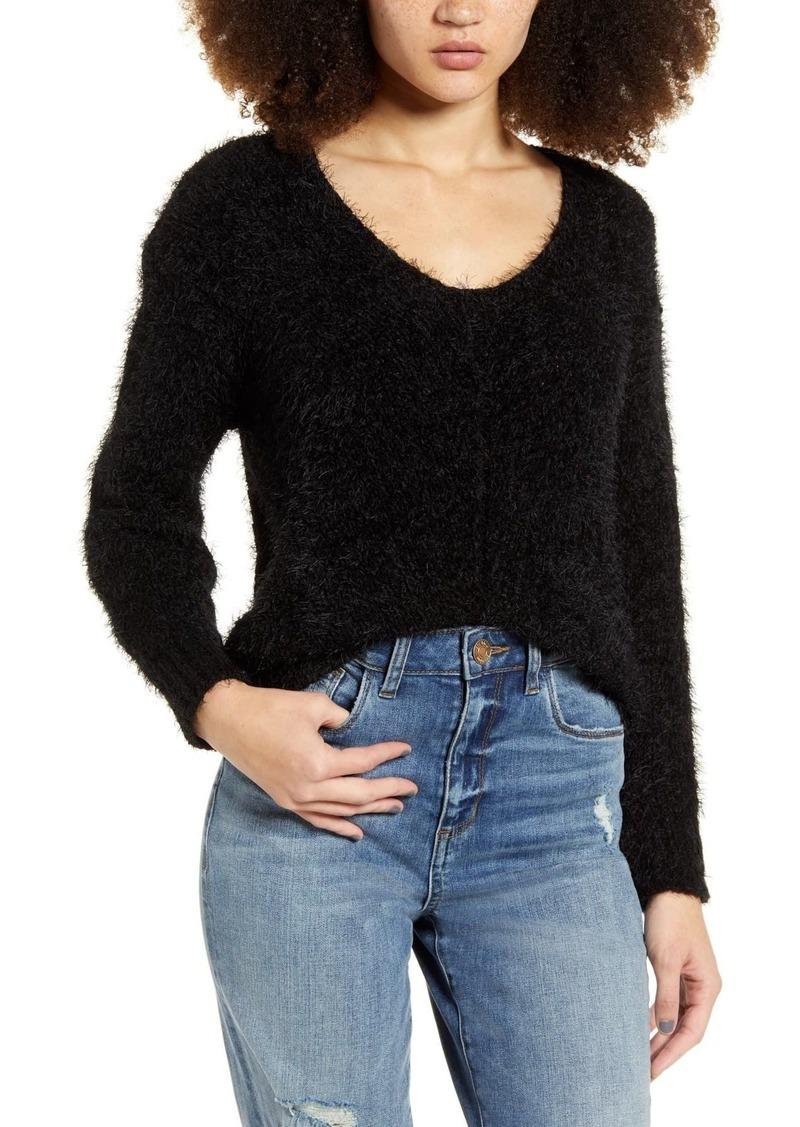 Brass Plum V-Neck Eyelash Chenille Sweater