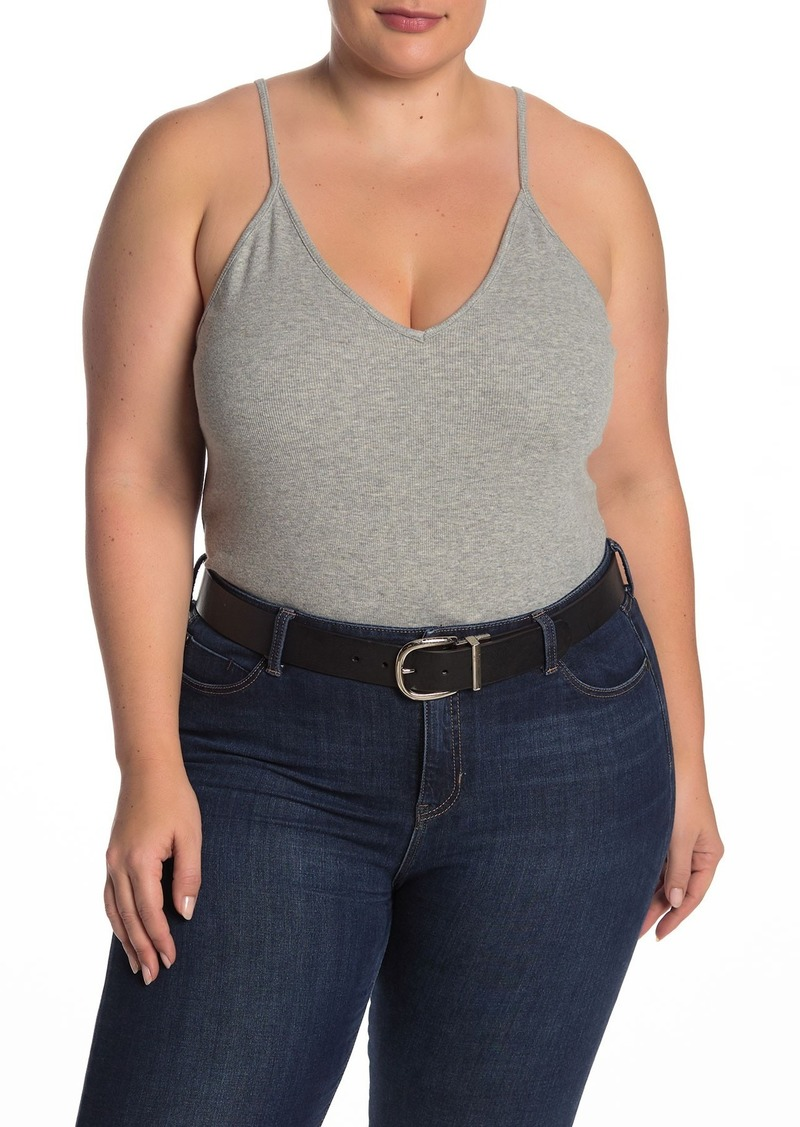 V-Neck Ribbed Bodysuit (Plus Size)