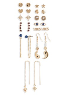Brass Plum Vibes Earring Set - Pack of 12