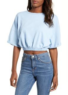 Brass Plum Vintage Wash Crop Short Sleeve Sweatshirt