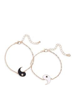Brass Plum Gold-Tone Ying Yang Duo Bracelets - Set of 2