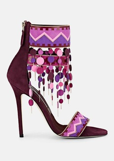 Brian Atwood Women's Lalopez Confetti-Fringed Leather Ankle-Strap Sandals