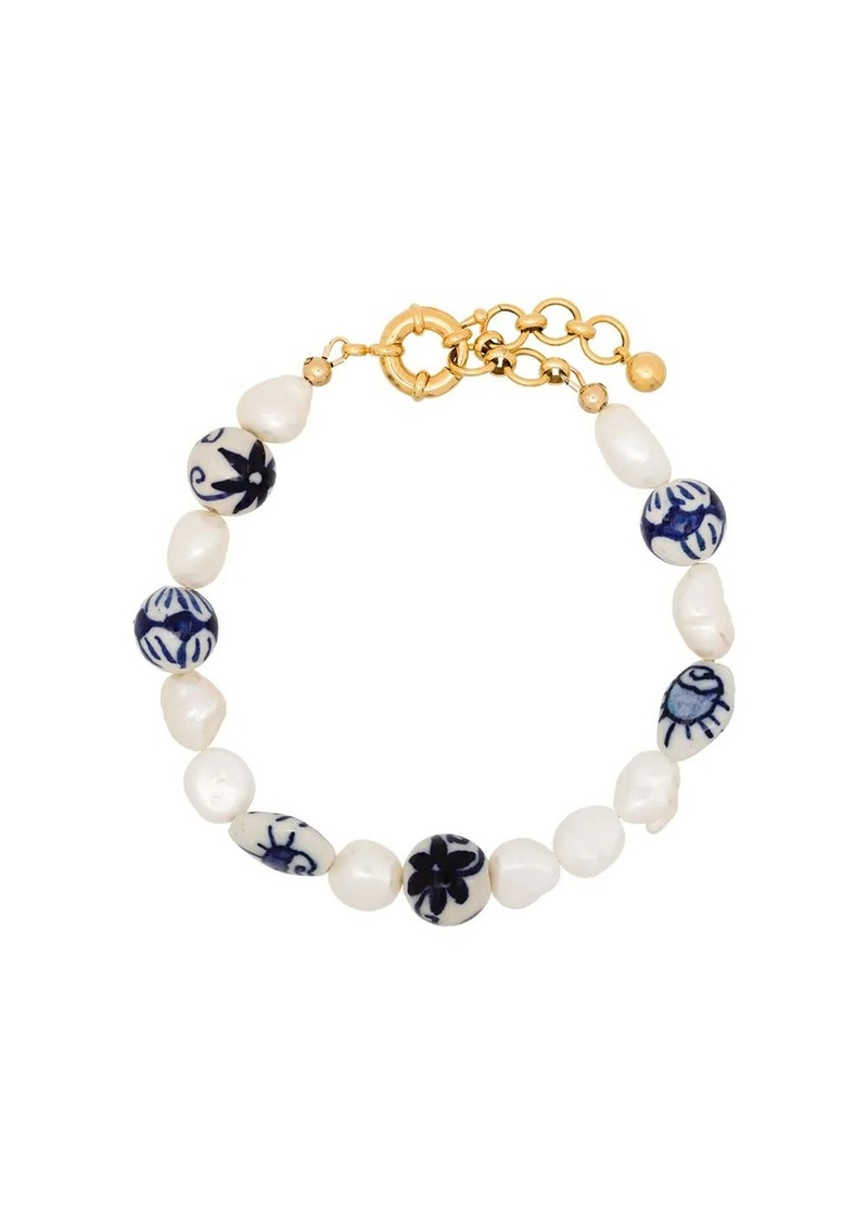 Aurora gold-plated pearl anklet