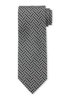Brioni Basket-Pattern Silk Tie