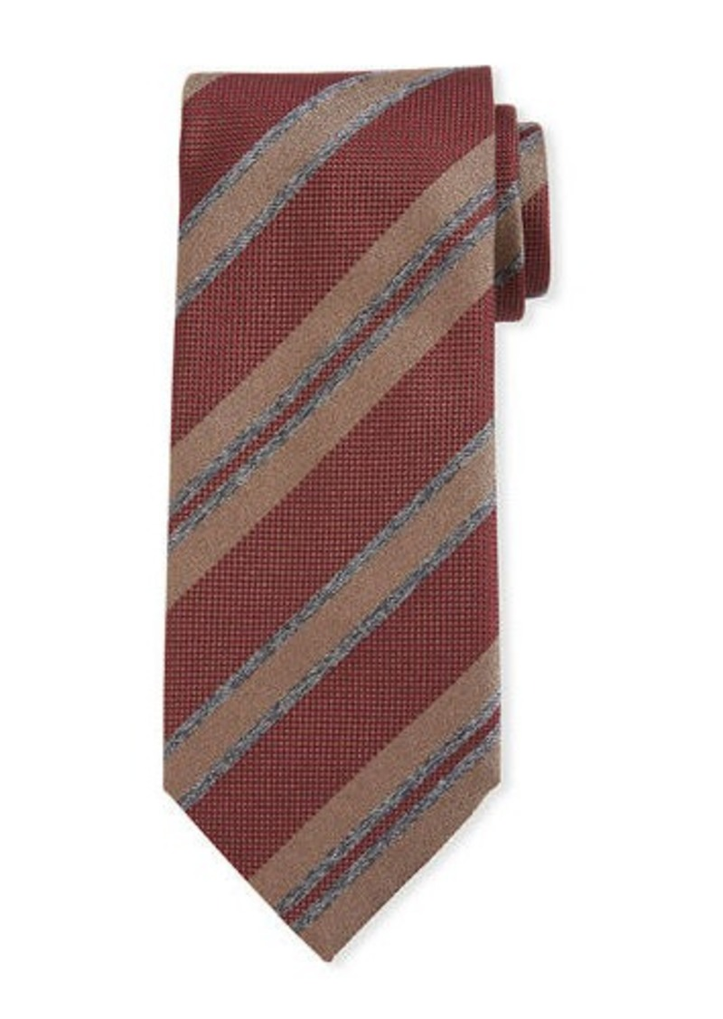 Brioni Basketweave Stripe Silk Tie