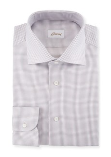 Brioni Box-Check Cotton Dress Shirt