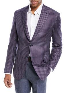 Brioni Cashmere-Silk Check Jacket