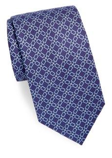 Brioni Chain Link Print Silk Tie