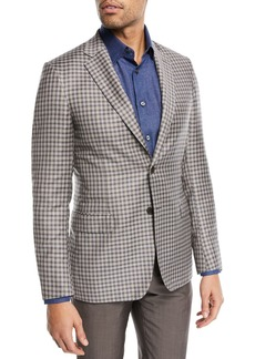 Brioni Check-Print Two-Button Blazer