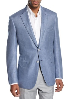 Brioni Check Wool-Silk Two-Button Sport Coat