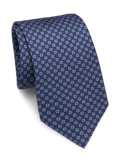 Brioni Circle & Floral Silk Tie