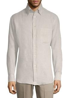 Brioni Classic Linen Button-Down Shirt