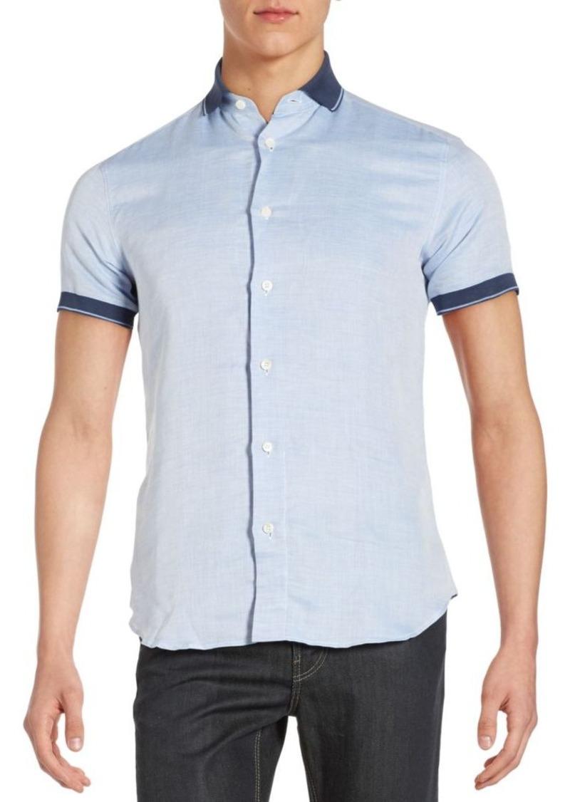 Brioni Contrast Border Blended Linen Shirt