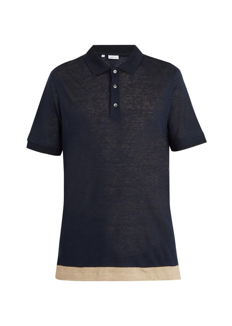 Brioni Brioni Contrast Panel Linen Polo Shirt Casual Shirts