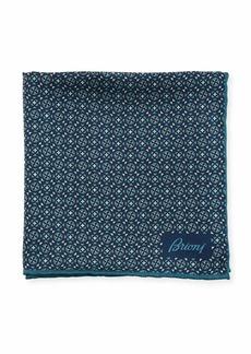 Brioni Crosses & Stars Silk Pocket Square