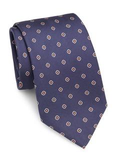 Brioni Diamond & Dot Silk Tie