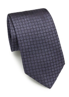 Brioni Diamond & Floral Silk Tie