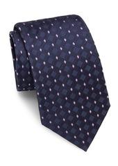 Brioni Diamond-Motif Raw-Silk Tie