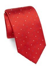 Brioni Dotted Raw-Silk Tie