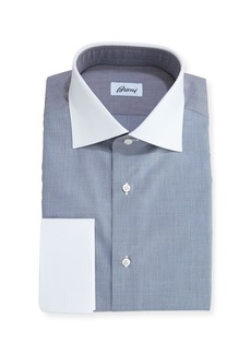 Brioni End-on-End Dress Shirt with Contrast Collar & Cuffs