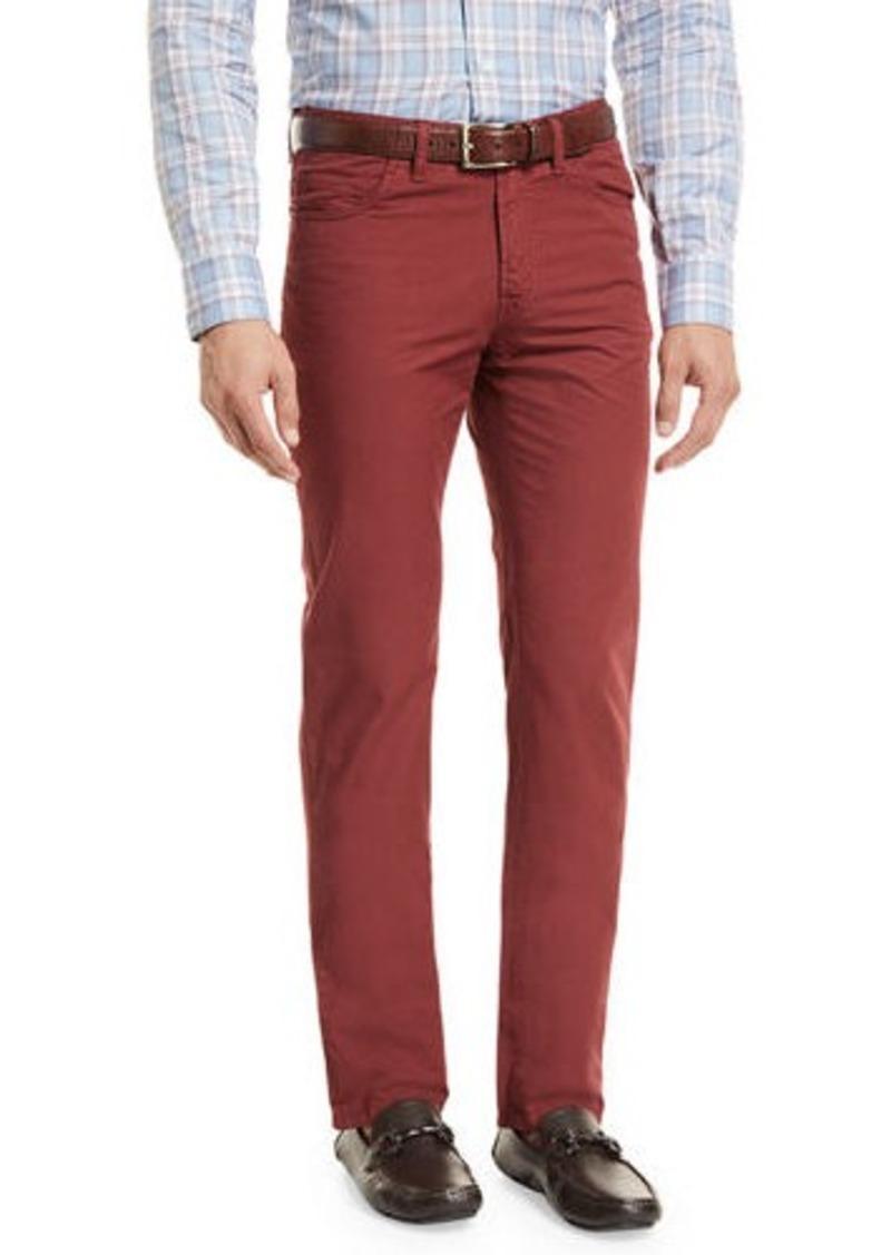 Brioni Five-Pocket Cotton Straight-Leg Pants
