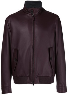 Brioni front zipped bomber jacket - Red