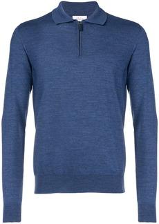 Brioni front zipped polo shirt - Blue